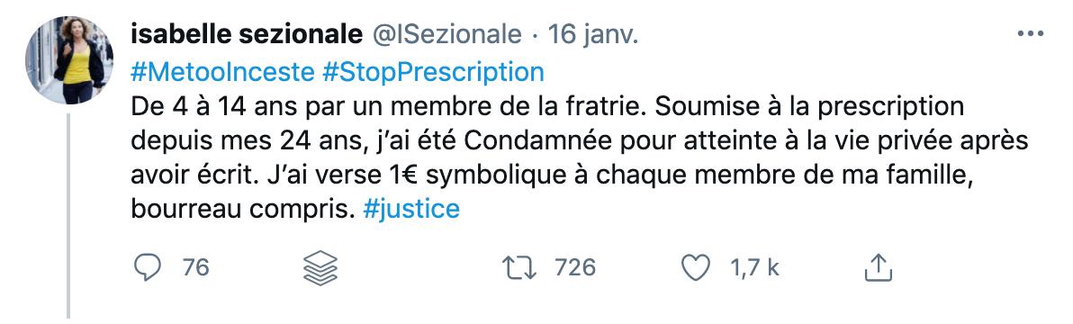 Buzz suite à un tweet d'Isabelle Sezionale #metooinceste